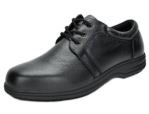 DREAM PAIRS Men's UNO-2 Black Genuine Leather Restaurant Oxfords Work Shoes - 11 M US Genuine Leather Slip