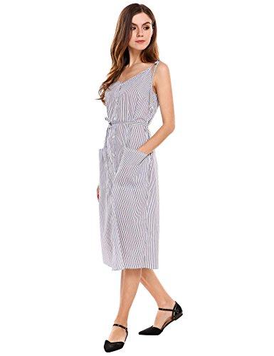 Les Femmes Acevog Style Vintage Robe D'été Rayé Avec Poches Plaquées Blanc