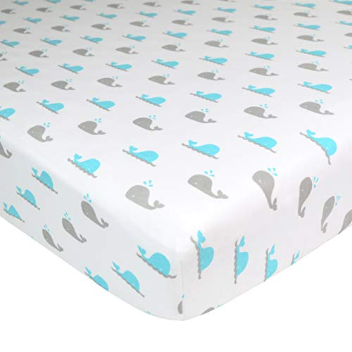 American Baby Company Printed 100% Cotton Jersey Knit Fitted Crib Sheet for Standard Crib and Toddler Mattresses, Whale, for Boys and Girls