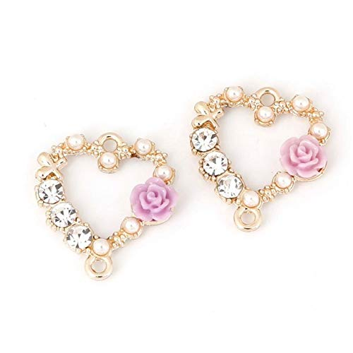 SMALL-CHIPINC - 18mmx20mm 6pcs/bag Gold-plated heart-shaped wreath double hole charms for DIY Earring Necklace Bracelet Jewelry Accessories (Wreath Charm Heart)