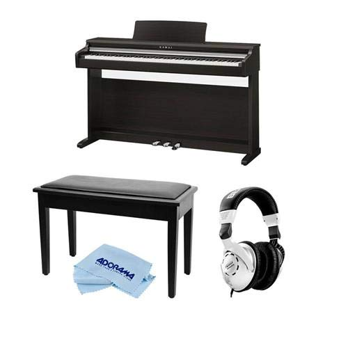 Kawai KDP110 88-Key Digital Piano, Premium Rosewood – Bundle With Behringer HPS3000 High-Performance Studio Headphones, On-Stage KB8904B Deluxe Piano Bench with Storage Compartment, Microfiber Cloth