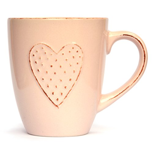 Heart Ceramic Mug by Govinda Crafts, 10oz, Tea Coffee Cup with Handle, Best Gift for Wife, Lover, Girlfriend or Mother, pink