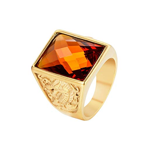 - FENDINA Mens Vintage Square Orange CZ Crystal Stone Titanium Steel Ring Band Gothic Dragon and Phoenix Embossed Biker Knight Ring