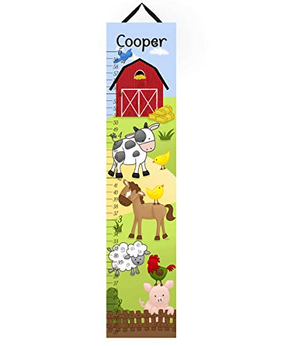 (Toad and Lily Canvas GROWTH CHART Farm Animals Cow Horse Sheep Pig Rooster Kids Bedroom Baby Nursery Wall Art GC0106 )