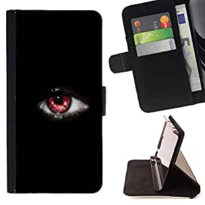King Air - Premium PU Leather Wallet Case with Card Slots, Cash Compartment and Detachable Wrist Strap FOR Sony Xperia Z1 M51W Z1 mini D5503- Black Eye