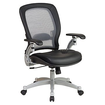 Mid Back Mesh&Leather Ergonomic Computer Chair(Black Leather Seat/Air Grid Back/Platinum Finish Metal Base) by OFF1