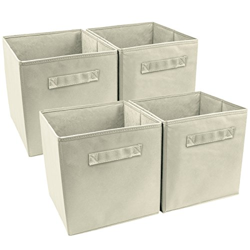 Sorbus 4-Pack Foldable Storage Cube Basket Bin, Beige
