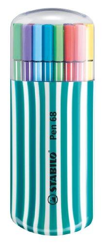 (STABILO Pen 68 Fibre Tip Pens Desk Set Turquoise - Assorted Colours, Pack of 20)