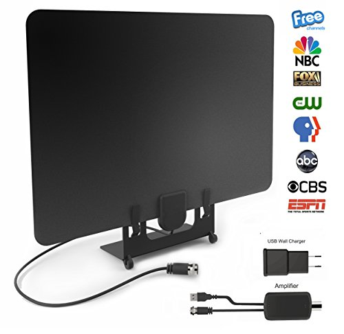 Indoor HDTV Antenna 50-60 Miles Range 1080P with Signal Amplifier, 3M Stickers, USB Power Supply And 13ft Coax Cable【2018 New Version】