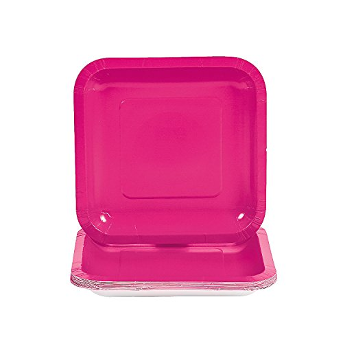 (Fun Express - Hot Pink Square Dessert Plates (18pc) - Party Supplies - Solid Tableware - Solid Plates & Bowls - 18 Pieces)