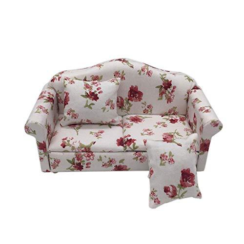 Binory Mini Sofa Set Fresh Flower Pattern for 1/12 Dollhouse Furniture,Fashion Modern Design Miniature Home Living Room Kids Pretend Toy,Creative Birthday Handcraft Gift(Red)