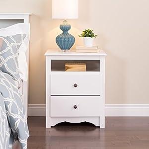 Prepac Monterey White 2 Drawer Tall Night Stand