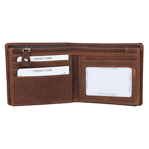 Handmade RFID Blocking Genuine Leather Bifold Zippered Wallets with Coin Pocket Designer Engraved Fashion with Card Pockets for Billfolds Cash By Rust…