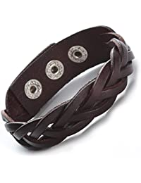 "Brown Black Genuine Leather Bracelet Braided Wide Women Men Punk - 9"" Button Adjust"