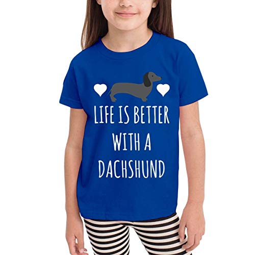 - YLJIA Life is Better with A Dachshund Cute Kids Boys Girls O-Neck Short Sleeve Shirt T-Shirt for 2-6 Toddlers Blue