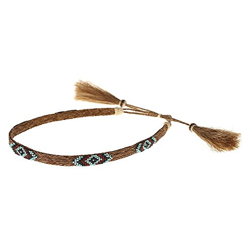 Austin Accent Inc Mens Austin Accent Horsehair 5 Strand W/Bead Hat Band Brown