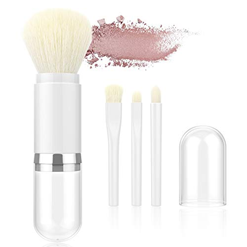 Luxspire Retractable Makeup Brushes, Professional Single Handle Kabuki Brush Soft Face Mineral Powder Foundation Eyeshadow Brush Set Cosmetics Make Up Tool - White