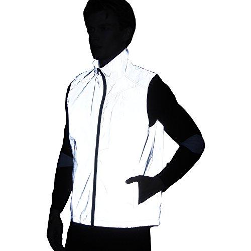 - 2018 Men Women 3M Reflective Vest Jacket Casual Hiphop Windbreaker Night Sporting Coat Hooded Fluorescent Clothing (L) Grey