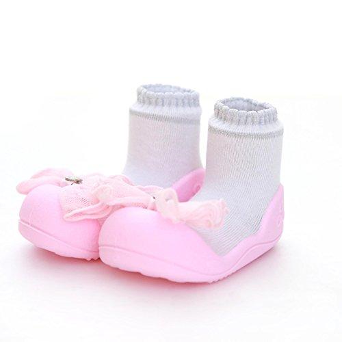 Attipas–Zapatos de cristal rosa bebé Walker zapatos para zapatillas rosa rosa Talla:20