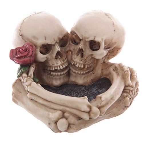 Love Never Dies Eternal Skeleton Couple with Rose Cigarette Heart Ashtray Resin Figurine -