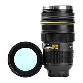 Lens Cup with Stainless Steel Insulated Tumbler, 1:1 Camera 24-70mm F2.8G Lens Imitation, 16oz (TRANSPARENT COVER)