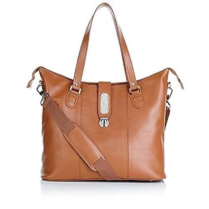Amazon.com   Joy Mangano Genuine Luxe Leather Zippered Everything Tote -  Cognac   Everything Else bef7ecff51