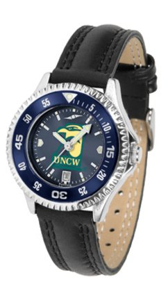 (SunTime North Carolina (Wilmington) Seahawks Competitor Ladies AnoChrome Watch with Leather Band and Colored Bezel)