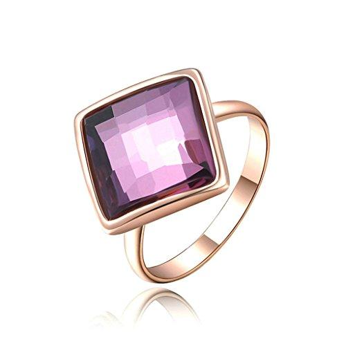 [Epinki Fashion Jewellry Gold Plated Womens Wedding Ring Square Cut Crystal Rose Gold Size 8] (Girls Jade Princess Costumes)