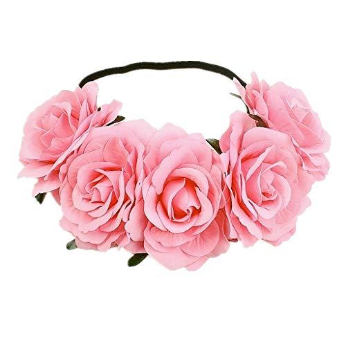 - Women Girl Large Rose Flower Wedding Beach Tiara Crown Hair headband Garland (Color - Pink)