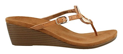 Vionic Womens Park Orchid Toepost Wedge Caramel