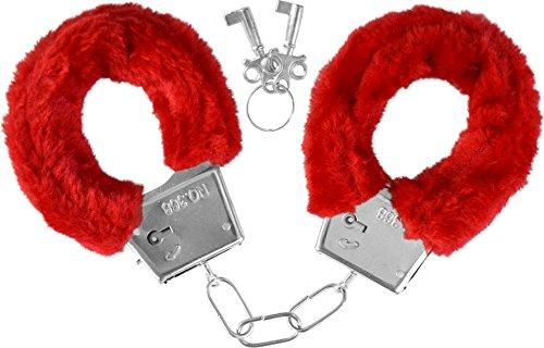 Handschellen mit Plüsch Farbe rot