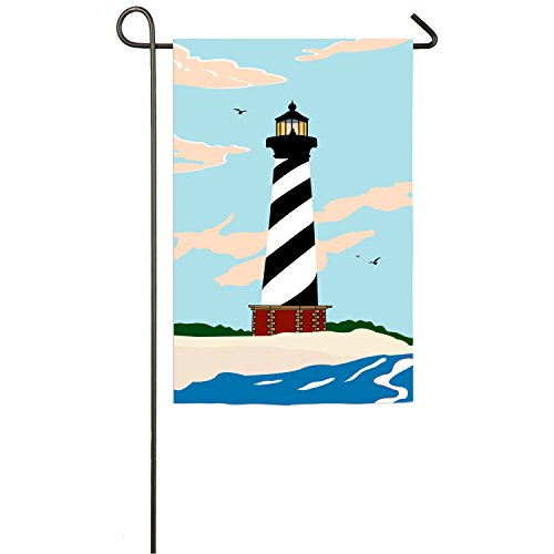 Evergreen Cape Hatteras Lighthouse Outdoor Safe Double-Sided Applique Garden Flag, 12.5 x 18 ()