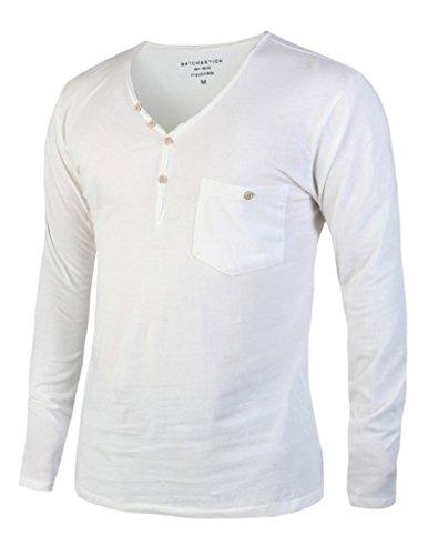 Match K|G Mens Henleys Shirts Long-Sleeve/Slim Fit(US L (Tag size 2XL),610 White)