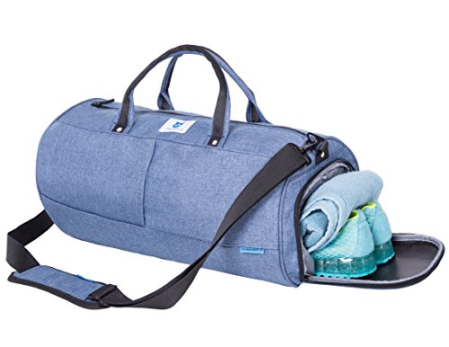 NORDSHIELD Gym Duffle Bag with Shoe Compartment Workout Carry On Luggage 19' (Blue)