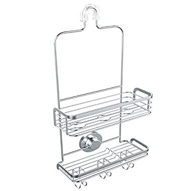 Modern Hanging Shower Caddy by Vidan Home Solutions | Stainless Steel Rust Proof| 2 Tiers of Shelves | Includes Superior Suction Cup