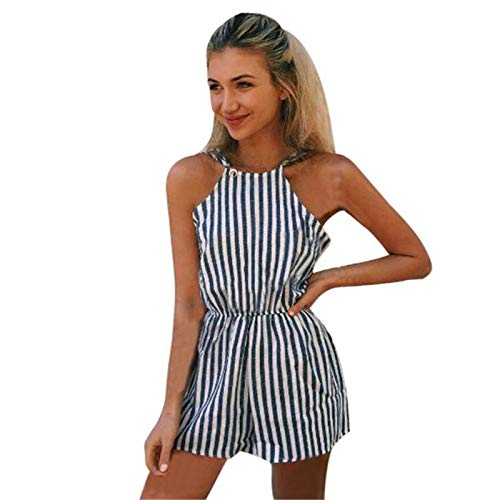 Thenxin Halter Jumpsuits for Women Sleeveless Stripes Print Elastic Wasit Casual Playsuit Shorts(Navy,M)