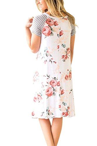 Yming Été À Manches Courtes Femmes Floral Robe Imprimée Avec Poche Blanche