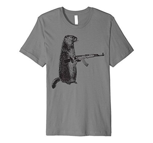 Hunting Shirt Woodchuck AK-47 Gun groundhog funny tee (Clothing Ak47)