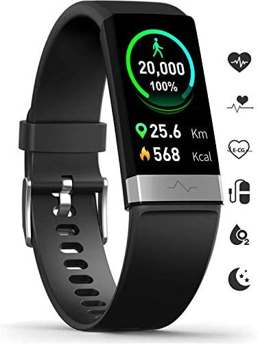 MoreProfessional Fitness Activity Tracker Heart Rate Blood Pressure Monitor, IP68 Wateproof Smart Watch with Blood Oxygen HRV Health Sleep Tracking, Smartwatch Calorie Counter Pedometer for Women Men