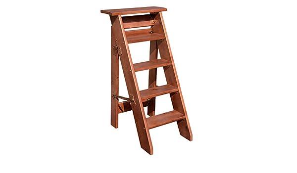 ZHAS Escalera Plegable de 5 peldaños, Silla de Escalera para el hogar Escaleras de Madera para niños y Adultos, Herramienta Ligera de jardín para el hogar Servicio Pesado Máx. 150 kg de