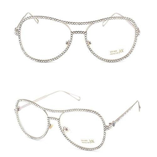 Itemap Women Oversized Metal Frame Clear Lens Rhinestone Eye Glasses Nerd Spectacles - Aviator Nerd Glasses