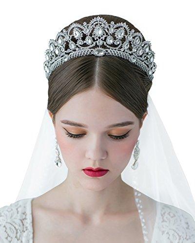 SWEETV Vintage Crystal Crown for Women Rhinestone Queen Tiara Wedding Hair Accessories, Clear Old Vintage Rhinestone