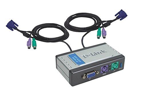 D-Link DKVM-2K 2-Port KVM Switch, Desktop, Built-in Cables