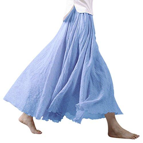 Denim femme pour lin Light Jupe paisseur en Jupe Taille coton longue maxi Nlife double et lastique qZpEx1xw