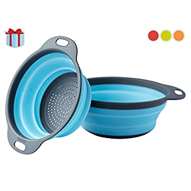 [Set of 2] Collapsible Kitchen Strainer (Colander) Set By Comfify - Includes Two Strainer Sizes: 8' and 9.5' - Blue and Gray
