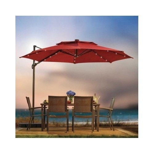 Outdoor Patio Cantilever Umbrella 11 Foot Round Canopy With Solar Powered Lights Includes Base And...