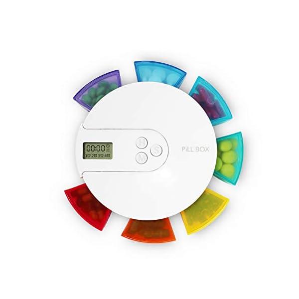 NICEXMAS - Pastillero digital portátil con indicador de fecha de alarma, pastillero inteligente con recordatorio 8