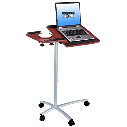 - TECHNI MOBILI Sit-to-Stand Rolling Adjustable Laptop Cart - Mahogany
