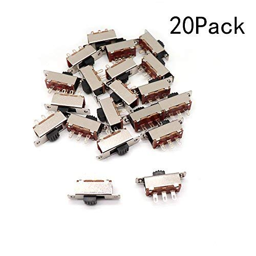 Yohii On-Off 2 Position 3 Pins Mini Slide Switches for DIY Electronics Project Pack of 20