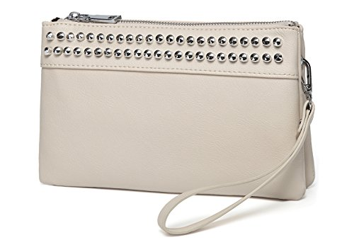 - Wristlet Clutch Purses,VASCHY SAC Large Studs Soft Faux Leather Crossbody Evening Clutch Wallet for Women Beige